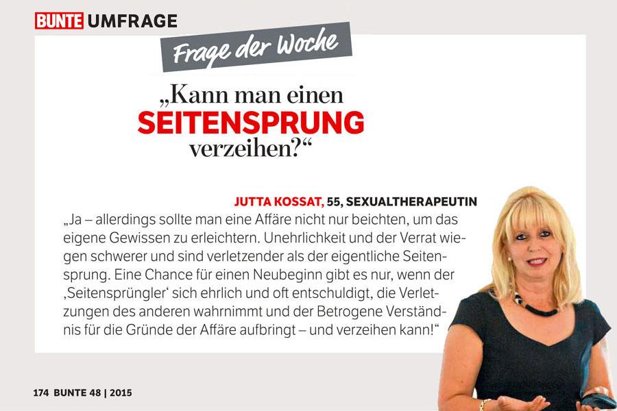 Presse Beitrag zum Thema Seitensprung von Sexualtherapeutin Dr. Jutta Kossat